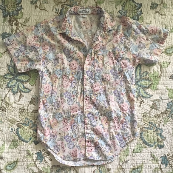 b3e233e5 Vintage Tops | 90s Floral Print Guess Button Down Shirt | Poshmark